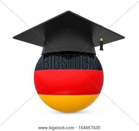 Graduation Cap with German Flag isolated on white background. 3D render