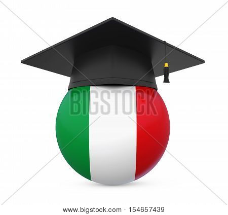 Graduation Cap with Italy Flag isolated on white background. 3D render