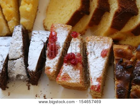 Luscious Slice Of Homemade Cake With Red Currants And White Suga