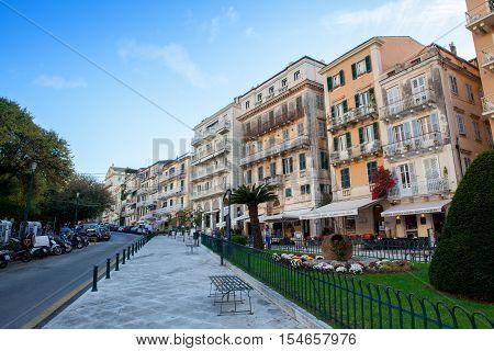 CORFU - GREECE, October 21, 2016: The historic center of town , Greece.