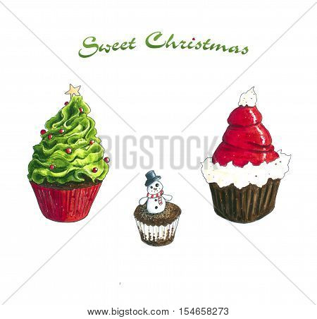 Christmas Cupcake Hand Drawn sketch. Isolated on white