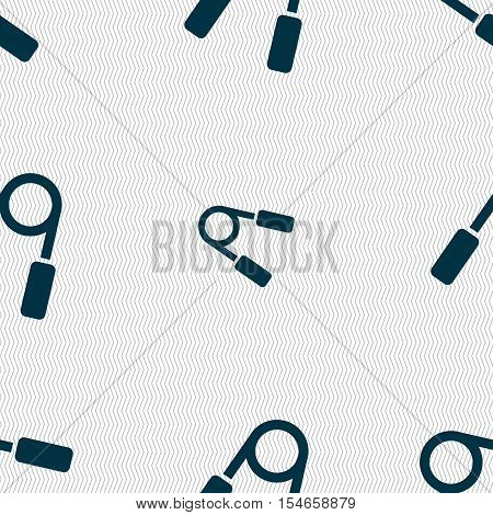 Hand Grip Trainer Icon Sign. Seamless Pattern With Geometric Texture. Vector
