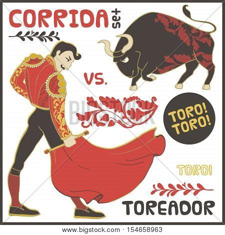 Corrida vector Illustration isolated on white background.