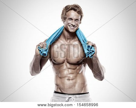 Strong Athletic Muscle Man With Towel