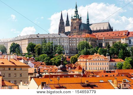 View on the castle hill with cathedral on the lesser town in Prague city