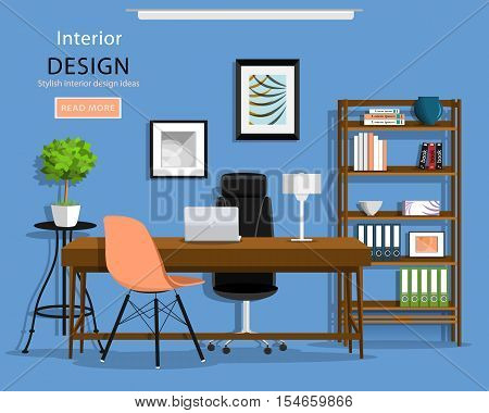 Modern graphic office room interior: desk, chairs, bookcase, laptop, lamp. Flat style vector illustration.