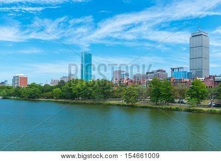 Boston, MA - June 2016, USA: View from Charles River on Prudential Tower and historical buildings in Back Bay
