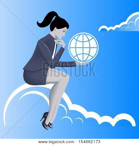 Global dominance business concept. Pensive business woman in business suit with globe symbol in his hand sitting on the cloud thinking about global dominance of her business. Strategy growth concept.