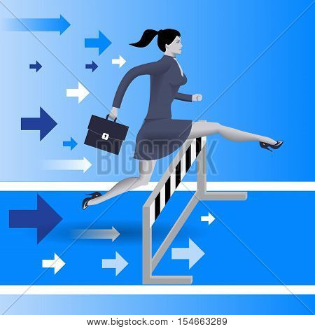 Over the obstacles business concept. Confident business woman in business suit with case jumps over the obstacle on her way to success. Concept of career success Vector illustration.