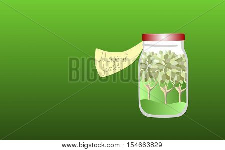 Vitamins for the Soul 3. Allegorical illustration. Medicine for the soul. Magic forest.