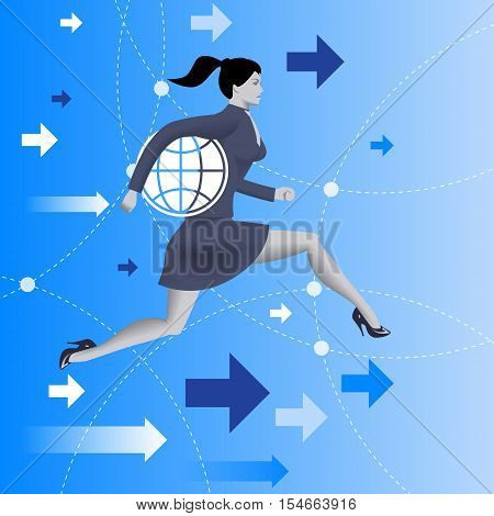 Responsible business concept. Confident business woman in business suit runs holding a globe under her arm as symbol of business power and responsibility. Vector illustration