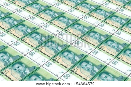 Moroccan dirhams bills stacks background. 3D illustration.