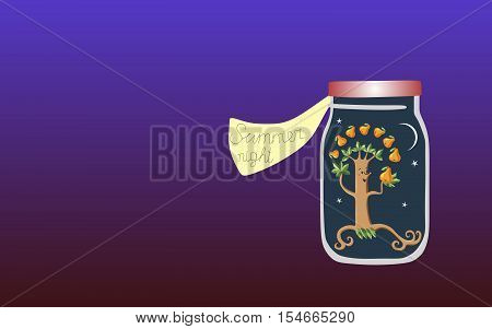 Vitamins for the Soul 7. Allegorical vector illustration. Medicine for the soul. Summer night.