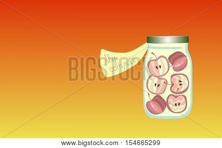 Vitamins for the Soul 6. Allegorical illustration. Medicine for the soul. Apple marmalade. Fruit compote.