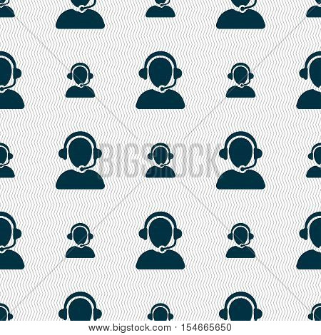 Customer Support Icon Sign. Seamless Pattern With Geometric Texture. Vector