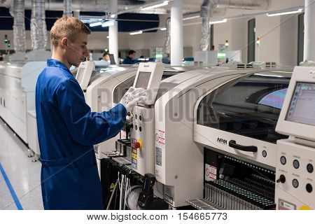 Saint-Petersburg Russia - November 2 2016: Manufacturer of automotive security systems Starline. Engineering controls workmanship card chip.