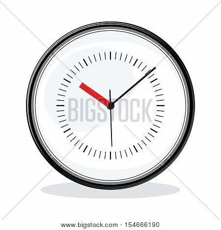 Classic simple clock on isolated white background. White dial. Vector illustration.