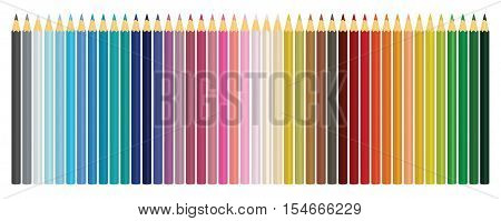 Colour pencils. Set of colored pencils isolated on white background. Vector illustration.