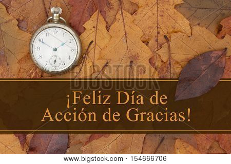 Happy Thanksgiving Greeting in Spanish Some fall leaves and retro pocket watch with text Feliz Dia de Accion de Gracias