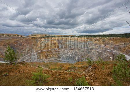 Open pit quarry mine copper pyrite ore