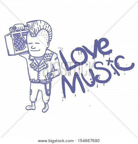 Punk rocker with old school boombox. EPS 10 vector illustration