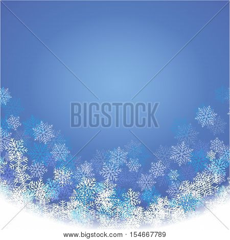 Winter blue background with fallen snowflakes. Festive card. Vector illustration