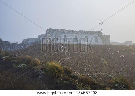 The shelter or refuge at the entrance of the Chimborazo volcano national park, close to Guaranda, Bolivar Province, Ecuador
