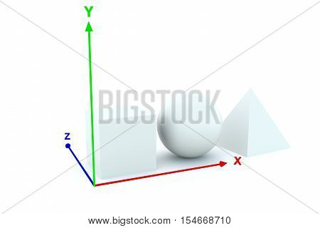 three dimensional objects white background  3d illustration