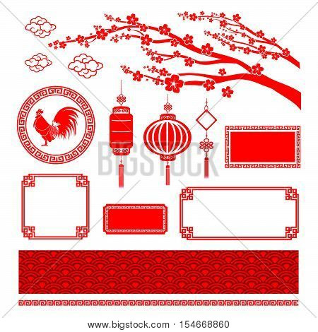 Chinese style art flat color boarder frame element for design and decoration vector illustration eps10