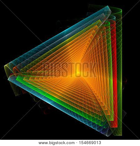 Endless orange colored triangle. 3D surreal illustration. Sacred geometry. Mysterious psychedelic relaxation pattern. Fractal abstract texture. Digital artwork graphic astrology magic