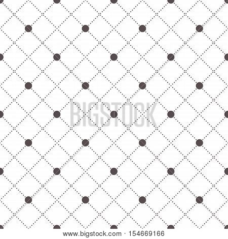 Vector seamless pattern. Geometric background with rhombus and nodes. Abstract geometric pattern.