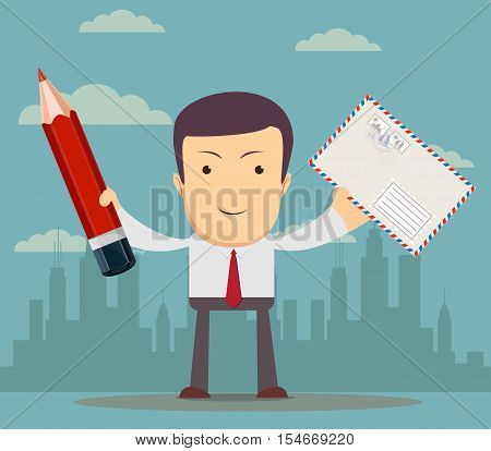funny cartoon office worke with an envelope and a pencil for use in presentations, etc. Stock vector illustration
