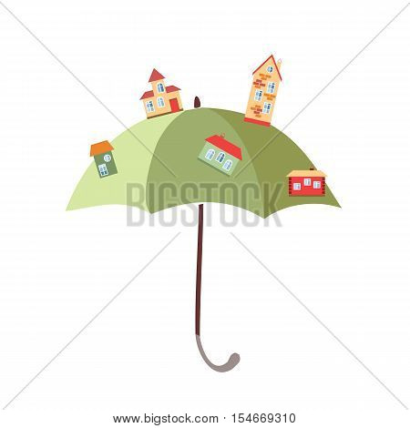 Umbrella and town on it in cartoon style.
