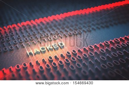 3D illustration of binary code interrupted by the word