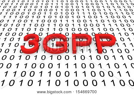 3GPP in the form of binary code, 3D illustration