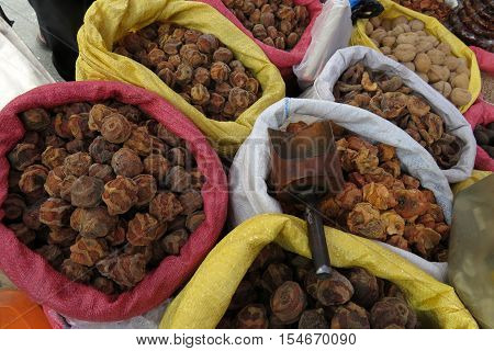 Dried fruits to make tea at farmers market in Sucre, Bolivia, South America