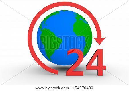 around the clock around the globe 3d illustration