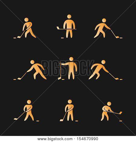 Silhouettes of figures hockey player icons set. Hockey vector symbols.
