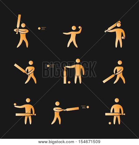 Silhouettes of figures cricket player icons set. Cricket vector symbols.
