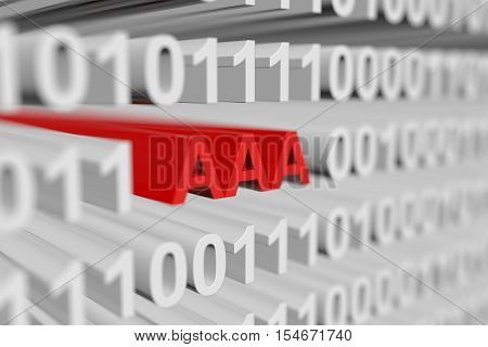 AAA in binary code with blurred background 3D illustration