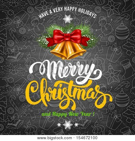 Christmas Greeting Design Template in Hand Drawn Doodle Style with Golden Jingle Bells. Chalkboard Design. Calligraphy Inscription Merry Christmas. Vector stock Illustration.