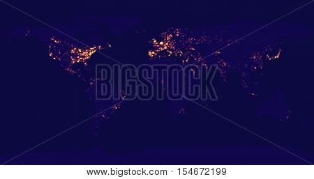 Vector illustration of the world map at night. Earthâ??s city lights are visible in the most urbanized regions.
