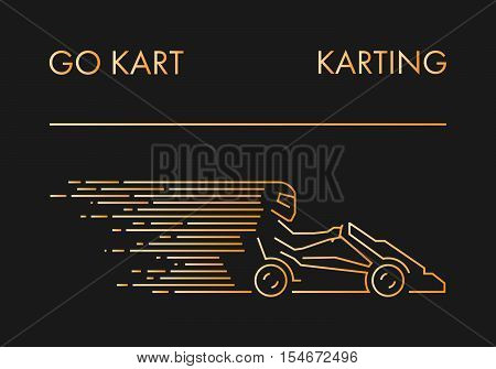 Vector line karting logo and icon. Linear go kart symbol and label.