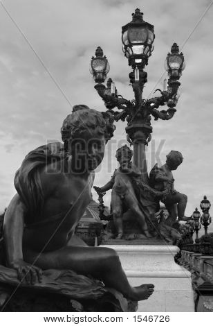 Statue And Lamppost, Paris (Black And White)
