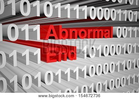 abnormal end in the form of binary code, 3D illustration poster