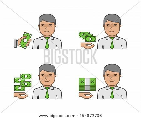 Vector icon set paydays and payment for work.