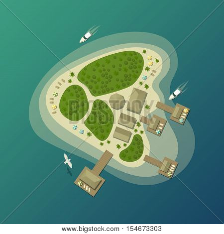 Tropical island beach or paradise isle top view. Lagoon and bay on island with bungalow, isle in sea or ocean. May be used for summer travel agency theme and island or isle tourism logo or banner