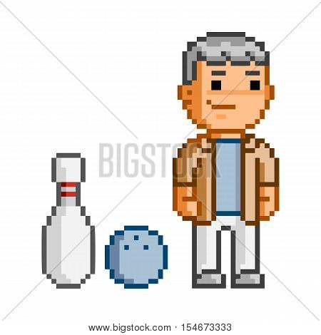 Vector pixel art man and bowling on white backgound.
