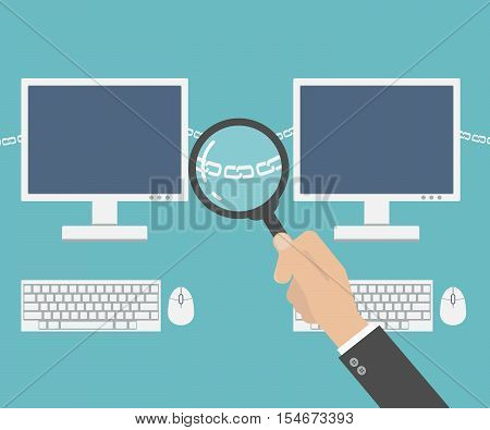 Hand With Magnifier Analyzing Chain