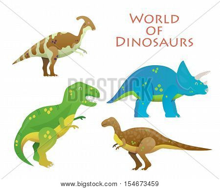 Cartoon dinosaur or reptile animal, prehistoric dino. Tyrannosaurus rex or t-rex and Triceratops, Velociraptor and Parasaurolophus lizard. For dinosaur illustration and extinct dinosaur paleontology
